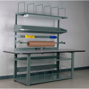 """Stackbin No. 1 Adjustable Height Complete Packing Workbench, Laminate Safety Edge, 96""""W x 36""""D, Gray"""