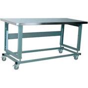 "Stackbin Workbench, 2500 série, Electric Lift, isorel sur acier inoxydable, 48"" W X 30"" D, gris"