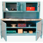Strong Hold Workstation with Upper Compartment & Stainless Steel Top 72 x 30 x 66