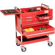 "Sunex Tools 8045 27"" Professional 5 Drawer Red Tool Cart w/ Locking Top"