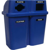 Bullseye Duo Recycling System - 30 Gallon Capacity Per Container - Blue Lid