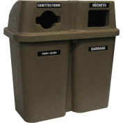 Bullseye Duo Recycling System - 30 Gallon Capacity Per Container - Sandstone Lid