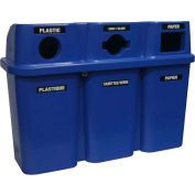Bullseye Trio Recycling System - 30 Gallon Capacity Per Container - Blue Lid