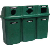 "Bullseye Trio Recycling System, 25 Gallon, 54"" x 19"" x 38"", Granite Green - Techstar 575"