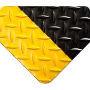 Wearwell Diamond-Plate Runner Black w/Yellow Borders, 3/16in x 2ft x 75ft Full Roll