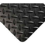 Wearwell Diamond-Plate Runner Black, 3/16in x 4ft x 75ft Full Roll