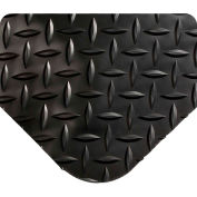 """Wearwell® Diamond-Plate SpongeCote Ultrasoft Mat 15/16"""" Thick 3' x 75' Black"""