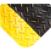 "Wearwell 414 Diamond Plate Ergonomic Mat, 15/16"" Thick 36""W Full 75Ft Roll, Black/Yellow"