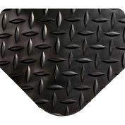 "Wearwell 415 Diamond Plate Diamond Plate Ergonomic Mat 24"" X 75' X 9/16"" Black"