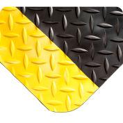 "Wearwell 415 Diamond Plate Diamond Plate Ergonomic Mat 24"" X 75' X 9/16"" Black/Yellow"