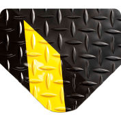 "Wearwell® Diamond-Plate SpongeCote™ Mat 9/16"" Thick 3' x 5' Black/Yellow Chevron Border"