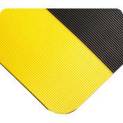 "Wearwell Corrugated SpongeCote, Black w/Yellow Borders, 1/2""x3'x60' Full Roll"