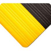 Wearwell Deluxe Tuf Sponge Black w/Yellow Borders, 5/8in x 2ft x 3ft