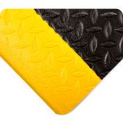 Wearwell Diamond Tuf Sponge Black w/Yellow Borders, 1/2in x 2ft x 60ft Full Roll