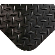 "Wearwell 495 Diamond Plate Diamond Plate Ergonomic Mat 36"" X 5' X 9/16"" Black"