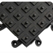 """Wearwell® ErgoDeck® Solid w/ Integrated Cleats 7/8"""" Thick 1.5' x 1.5' Black"""