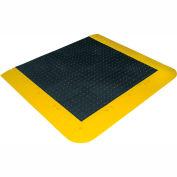 "Wearwell® ErgoDeck® No-Slip Solid Kit 7/8"" Thick 5.5' x 3.5' Black/Yellow Border"