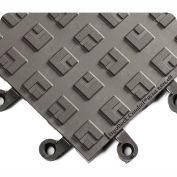 "Wearwell® ErgoDeck® Comfort Kit 7/8"" Thick 5.5' x 3.5' Charcoal/Yellow Border"