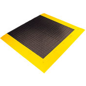 """Wearwell® ErgoDeck® General Purpose Kit 7/8"""" Thick 5.5' x 3.5' Charcoal/Yellow Border"""