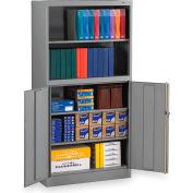 "Tennsco Bookcase Storage Cabinet BCD18-72-MGY - Welded 36""W x 18""D x 72""H Medium Gray"