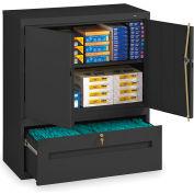 Tennsco Combination Shelf Drawer Cabinet DWR-4218-BLK - 36x18x42 1 Drawer, 2 Shelf, Black