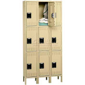 Tennsco Stee Locker TTS-121824-3-LGY - Triple Tier w/Legs 3 Wide 12x18x24 Assembled, Grey