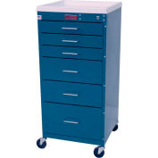 Harloff Mini-Line Tall Six Drawer Procedure Cart with Key Lock, Standard Package, Sand - 3156K