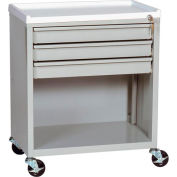 Harloff Treatment Cart with Three Drawers Lower Open Storage, Sand - ETC-3