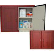 "Wooden Laminate In-Wall Medicine Cabinet, Double Unit, 30-1/2""W x 6-13/16""D x 25""H, Dark Cherry"