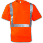 Tingley® S75029 Class 2 Short Sleeve T-Shirt, Fluorescent Orange, 5XL