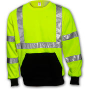 Tingley® S78022 Class 3 Crew Neck Sweatshirt, Fluorescent Lime, 2XL