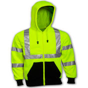 Tingley® S78122 Class 3 Hooded Sweatshirt, Fluorescent Lime, Medium