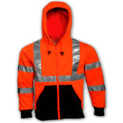 Tingley® S78129 Class 3 Hooded Sweatshirt, Fluorescent Orange, Small