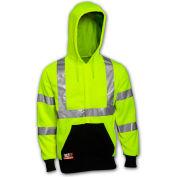 Tingley® Class 3 FR Hi-Vis Hooded Sweatshirt, Fluorescent Yellow Green/Black, L