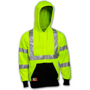Tingley® Class 3 FR Hi-Vis Hooded Sweatshirt, Fluorescent Yellow Green/Black, XL