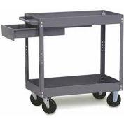 "Tri-Boro Economy 2 Shelf Stock Cart ESC1630D Steel 30 x 16 with 3"" Lip, 500 Lb. Cap."