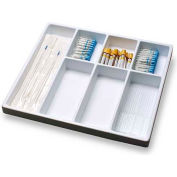"TrippNT™ White Big 7 Compartment Drawer Organizer, 19""W x 18""D x 2""H"
