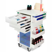 "TrippNT™ White Core DX Organizing Cart with Blue Sliding Door, 23""W x 19""D x 35""H"