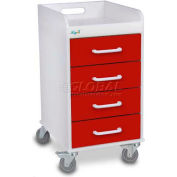 "TrippNT™ 51081 Compact 4 Drawer Locking Medical Cart, Cherry Red, 14""W x 19""D x 27""H"