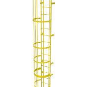 Échelle fixe à cage en acier WLFC1224-Y,24 échelons, jaune sécurité
