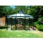 "Teahaus Pavilion, Aluminum Frame & Tempered Glass, 171Sq/Ft, 13' 1""L X 13' 1""W X 11' 6""H, Green"