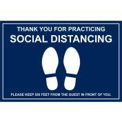 "Walk On Floor Sign - MERCI POUR PRATIQUER SOCIAL DISTANCING, 12"" x 18"", Bleu"