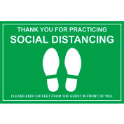 "Walk On Floor Sign - THANK YOU FOR PRACTICING SOCIAL DISTANCING, 12"" x 18"", Green"