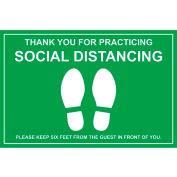 "Walk On Floor Sign - MERCI POUR PRATIQUER SOCIAL DISTANCING, 12"" x 18"", Vert"