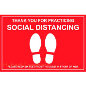 "Walk On Floor Sign - THANK YOU FOR PRACTICING SOCIAL DISTANCING, 12"" x 18"", Red"