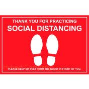"""Walk On Floor Sign - MERCI POUR PRATIQUER SOCIAL DISTANCING, 12"""" x 18"""", Rouge"""