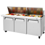 "M3 Series - Mega Top Sandwich/Salad Table 72-1/2""W - 3 Door"