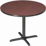 """Interion® 36"""" Round Restaurant & Lunchroom Bar Height Table, Mahogany"""