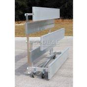 4 Row Low Rise Tip N Roll Aluminum Bleacher, 9' Long, Double Footboard