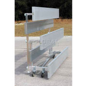4 Row National Rep Tip N Roll Aluminum Bleacher, 15' Long, Single Footboard